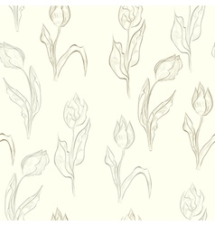 seamless wallpaper with tulips flowers vector image