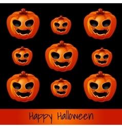 Set of nine pumpkins for Halloween vector image vector image
