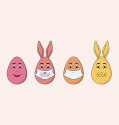 Simple emojis easter eggs with ears and masks vector