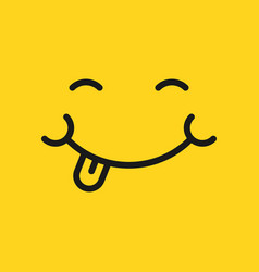 Smile face icon in flat style tongue emoticon on vector
