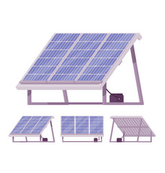 Solar cells panel kit with battery vector