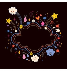 Star bursts cartoon cloud shape banner frame vector