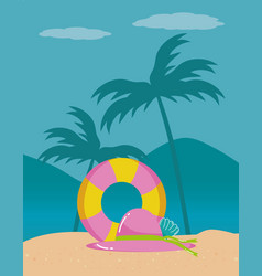 Summer and vacation icon set design vector