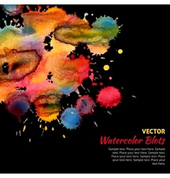 Template with bright watercolor blots vector image