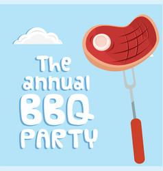 The annual bbq party meat on fork background vector