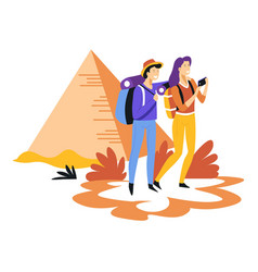 tourism couple with backpacks and egyptian vector image