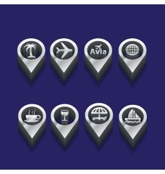 tourist icons in isometric vector image