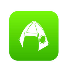 tribal tent icon green vector image