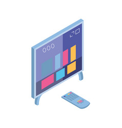 tv screen and remote control in white background vector image