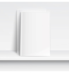 Two blank white magazines on white shelf vector image
