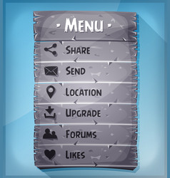 ui element and data icons on stone panel vector image