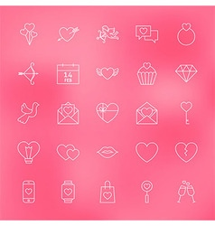 Valentine Day Line Icons Set over Blurred vector image