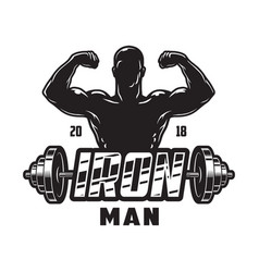 vintage bodybuilding label template vector image