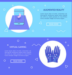 virtual reality concept flyers set in flat style vector image