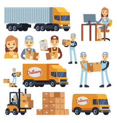 Warehouse workers cartoon characters vector