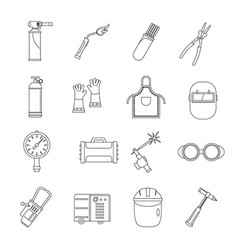 Welding icons set outline style vector