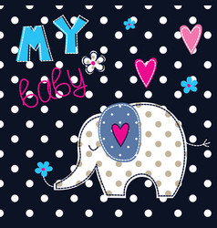 With cute elephant vector