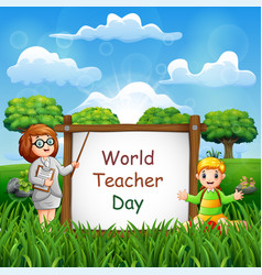 world teachers day with a teacher and student vector image