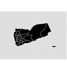 yemen map - high detailed black map with vector image
