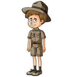 zookeeper in brown uniform vector image