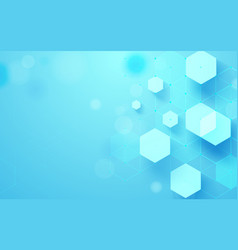 abstract blue geometric hexagons shape and lines vector image vector image