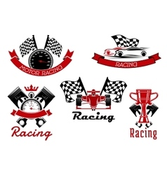 Auto racing sporting symbols with race cars vector image vector image