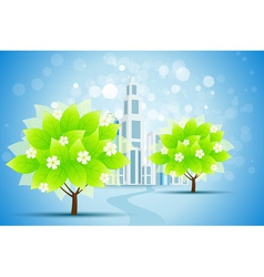 Blue Background with Business City and Trees vector image vector image