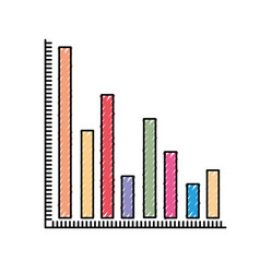 colored crayon silhouette of column chart vector image