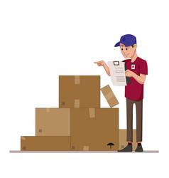 courier checks parcels list boxes for sending vector image vector image