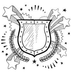 doodle pop wreath shield vector image vector image