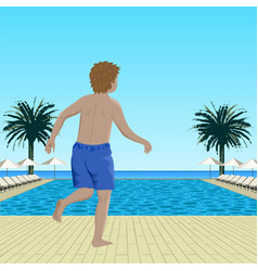 running boy near swimming pool vector image