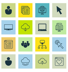 set of 16 world wide web icons includes blog page vector image vector image
