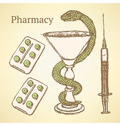 Sketch pharmacy set in vintage style vector image vector image