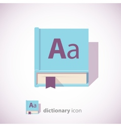 blue dictionary book icon vector image