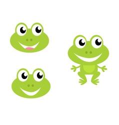 cute green cartoon frog icons vector image vector image