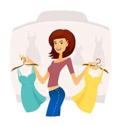 Fashion shopping girl on sales in shopping mall vector image vector image