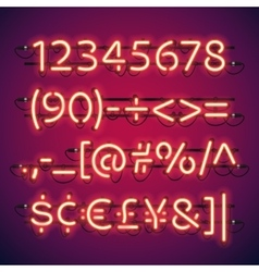 Glowing Neon Bar Numbers vector image vector image