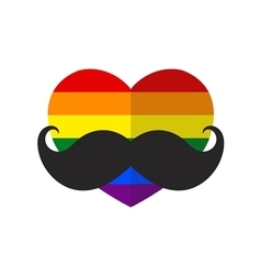 Rainbow flat heart with mustache vector image vector image