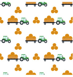 seamless pattern flat green tractor with a cart vector image vector image