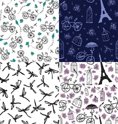 set of seamless patterns with flowers and bicycles vector image vector image