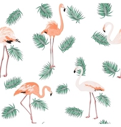 Blue green exotic tropical leaves pink flamingos vector image