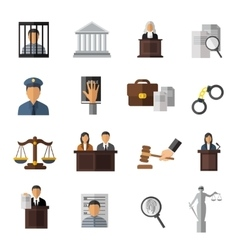 Judicial System Icon Set vector image vector image