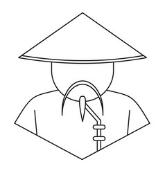 chinese man icon outline style vector image vector image