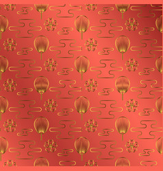 japan fan gold on red jewel color background vector image
