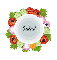 salad vegetables food fresh diet poster vector image