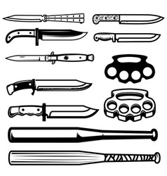 set of gangsta weapon knives brass knuckle vector image