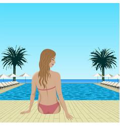 Woman sitting near pool vector