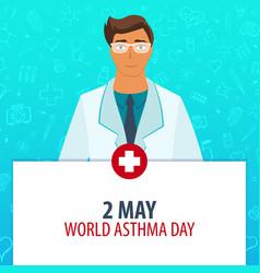 2 may world asthma day medical holiday vector image