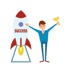Achieving success happy businessman with trophy vector
