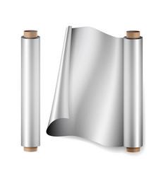 Aluminium foil roll close up top view vector